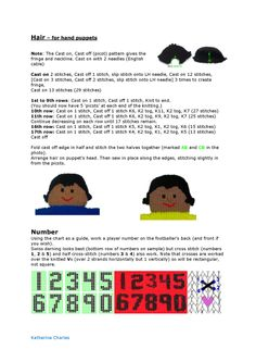 Hair and numbers for the footballer. *** If your puppet wants longer hair, check out the pattern for the dolly puppet Christmas Shoebox, Kids Christmas, Xmas, Hand Puppets, Finger Puppets, Yarn Projects, Knitting Projects, Knitted Teddy Bear, Teddy Bears