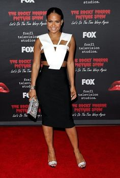 Christina Milian wore a black + white #Mugler Resort 2015 cutout dress to the #RockyHorror on FOX premiere. The Fashion Court (@TheFashionCourt) | Twitter