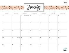 24 Best January 2019 Printable Calendar Images