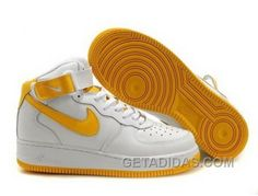 http://www.getadidas.com/nike-air-force-1-mid-sneakers-white-yellow-discount.html NIKE AIR FORCE 1 MID SNEAKERS WHITE YELLOW DISCOUNT Only $54.57 , Free Shipping!