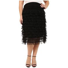 Kiyonna Tiered Tulle Skirt (Black Noir) Women's Skirt ($98) ❤ liked on Polyvore featuring plus size women's fashion, plus size clothing, plus size skirts, midi skirt, frilly skirt, flounce skirt, tiered skirt and calf length skirts