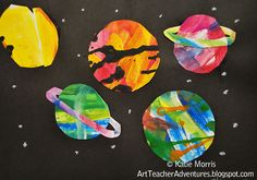 Painting Planets: Way back in October I was doing a music inspired lesson with 4th-6th grade. 6th Graders spend I think a whole 9-weeks studying astronomy and one of my favorite CD's is a performance of Gustav Holst's The Planets. So my music-science-art fusion Planets lesson was born. In the first class, I gave a super quick introduction to Abstract Expressionism, focusing mainly on Jackson Pollock, then went further back into Art History to introduce Wassily Kandinsky.