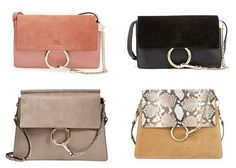 Chloe Faye crossbody purse | small and medium sizes | suede flap | large gold metal ring & chain