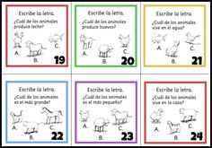 Spanish task cards to practice animal words.