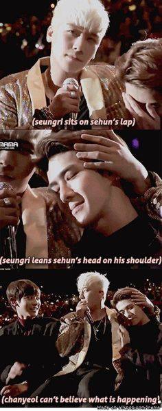 """Two Precious Maknae"" I, too, would lean on Seungri if i were Sehun!  