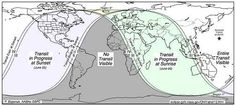 On the US West coast, watch for the Venus transit to begin around 3PM local time on June 5. Those on the US East coast will have to act fast as the transit becomes visible around sunset at 6PM. For those in Europe, sunrise on June 6 will be optimum viewing time.