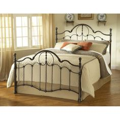 Iron Bed / Metal Bed - Venetian Bed in Old Bronze - Hillsdale Furniture Iron Headboard, Headboard And Footboard, Bed Headboards, Queen Headboard, Full Headboard, Bedding Master Bedroom, Queen Bedding Sets, Bed Sets, Camas King Size