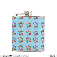 Ladybug and Flowers Hip Flask