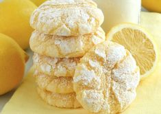 Lemon Gooey Butter Cookies ~ Deliciousness made with all-natural flavoring - triple lemon! Melt-in-your-mouth Lemon Gooey Butter Cookies at their finest and from scratch. Buttery, light and tender-cru (Gooey Butter Cookies) Gooey Butter Cookies, Lemon Sugar Cookies, Butter Cookies Recipe, Lemon Crinkle Cookies, Sugar Donut, Lemon Desserts, Lemon Recipes, Cookie Recipes, Snack Recipes