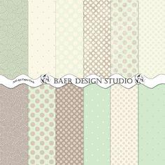 Mint Green POLKA DOT Digital Paper Mint and by BaerDesignStudio