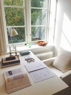 """ineverstoplearning: """" 31.08.15 My study space for today """" ahh it's so clean, sunny, and lovely!"""
