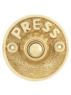 "Brass Doorbell. Vintage ""Press"" Door Bell Button In Solid, Cast Brass"