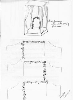 this is the second option, showing the floral and greenery swags x 3 up and between the village draping, then a wooden arch that you like on the platform under the gazebo, but with no additional floral or greenery on the gazebo - only on the arch
