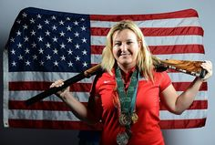 Kim Rhode of the US Shooting Olympic team poses for pictures during the 2012 Team USA Media Summit on May 14, 2012 in Dallas, Texas. AFP PHOTO/JOE KLAMAR (Photo credit should read JOE KLAMAR/AFP/Getty Images)
