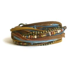bohemian wrap bracelet, leather suede wrap, ribbon wrap, brown blue... ($33) ❤ liked on Polyvore featuring jewelry, bracelets, leather jewelry, boho chic jewelry, blue jewelry, cuff jewelry and wrap cuff bracelet