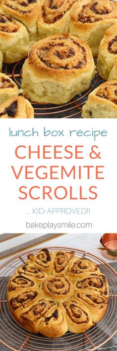 Cheesymite Scrolls Cheesymite Scrolls made the perfect lunch box snack! Filled with Vegemite and cheese, they're sure to be a family favourite. Watch the recipe video to see how easy to make they really are! Savory Snacks, Lunch Snacks, Kid Snacks, Savoury Recipes, Savoury Dishes, Bread Recipes, Vegetarian Recipes, Lunch Box Recipes, Baby Food Recipes