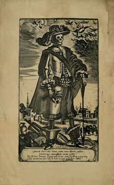 Gerhard Altzenbach, 17th c. Skeleton wearing woman's fashionable hat and gown, holding bouquet of wilted flowers; church and graveyard in background, Christ enthroned and angels in sky; engraved Latin text.