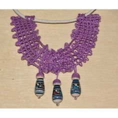 Mauve, Crochet Necklace, Jewelry, Lace Jewelry, Glass Beads, Bobbin Lace, Pendant, Necklaces, Jewlery