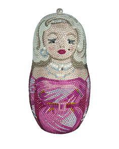 V24CJ Judith Leiber Couture Russian Doll Crystal Minaudiere, Fuchsia Multi