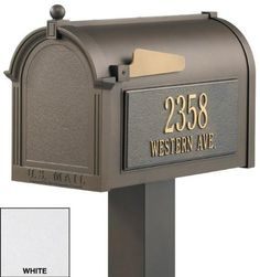 Mailboxes, Premium Package Whitehall White Mailbox by Home Decorators Collection. $419.00. Premium Personalized Mailbox Package - You Can Personalize This Attractive Mailbox With Your House Number And Street Name. 20% Larger Than Most Premium Mailboxes, It's Big Enough To Hold Multiple Days' Worth Of Mail And Will Help Keep Your Magazines Crease-Free.Independently Tested For Function And Durability, This Mailbox Is Constructed From Die Cast Rust-Free Aluminum And Has A ...