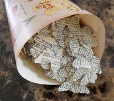 BUTTERFLY VINTAGE WEDDING Decor - Antique Dictionary Book Confetti 1000 Scalloped Butterflies 1 inch
