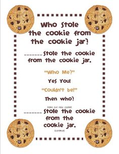 Gilchrist's Class: Who stole the cookie from the cookie jar? Gilchrist's Class: Who stole the cookie from the cookie jar? Freebie and a Peek at my Classroom :) – Kindergarten Lesson Plans Circle Time Songs, Circle Time Activities, Name Activities, Circle Time Ideas For Preschool, Song Time, Summer Activities, Kindergarten Songs, Preschool Music, Preschool Classroom