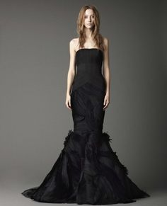 """Pin for Later: 12 Hauntingly Creative """"Hallowedding"""" Ideas Bridal Fashion Black is a must! Here are some looks from Vera Wang's Fall 2012 collection as examples."""