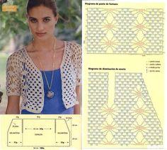 New Ideas For Crochet Blusas Patrones Ganchillo Filet Crochet, Crochet Motifs, Crochet Flower Patterns, Crochet Diagram, Crochet Stitches, Crochet Gratis, Sewing Patterns, Crochet Jacket, Crochet Cardigan