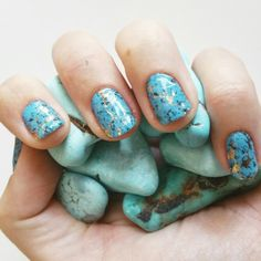 Turquoise Jamberry nail wraps with TruShine gel over.