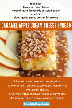 This easy Caramel Apple Cream Cheese Spread takes only a few minutes to make and will disappear almost as quick. This easy Caramel Apple Cream Cheese Spread takes only a few minutes to make and will disappear almost as quick. Dessert Dips, Köstliche Desserts, Delicious Desserts, Dessert Recipes, Yummy Food, Appetizer Dessert, Health Desserts, Apple Recipes, Holiday Recipes