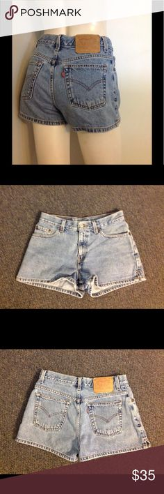 "Vintage Levis Jean Shorts 7 Jr Nice pair of vintage Levis. Light wash 100% cotton and marked size 7. Waist 15"" across Rise 10"" Inseam 2 1/2"" Levi's Shorts Jean Shorts"