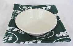 Microwave Bowl Cozy, Bowl Holder, NY Jets Football by MadeWithLovebyEdna on Etsy