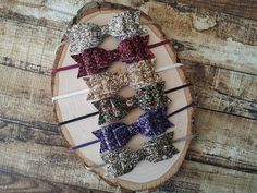 Matte Glitter Hair Bow Headbands or Hair Clips - You Pick Color