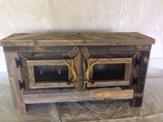 Barn wood style TV stand with deer antler by RestorationCrown, $195.00