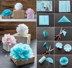 Gift wrap bow: picture details, directions in ..?german? maybe? bloem van servet maken. Leuk om cadeautjes mee te versieren