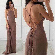 long Prom Dress, brown Prom Dress, lace up Prom Dress, backless prom dress…