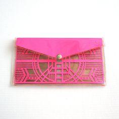 Neon Pink Cut Out Art Deco Clutch - Geometric Laser Cut Paper Clear Transparent Vinyl PVC Purse from FabParlor on Etsy. Neon Accessories, Cut Out Art, Laser Cut Paper, Laser Cut Leather, Clear Bags, Pink Paper, Paper Cutting, Purses And Bags, Art Deco