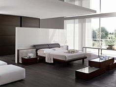 Contemporary Bedroom Furniture Modern Bedroom Wooden Floor Also White Ottoman And Wooden Bed Frame Also White Wall And Small Dresser, Sensational Modern Bedroom Design With Contemporary Furniture Ideas