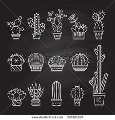 Set vector geometric cacti in trendy mono line style - art deco.It can be used…