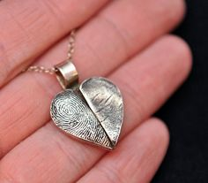 Silver Jewelry - Couple's Fingerprints Pendant on a Custom Sterling Silver Necklace or Bracelet