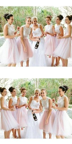 A-line Bow Embellished Sleeveless Ivory Lace Bodice Knee-length Pink Tulle Skirt Short Bridesmaid Dresses,Elegant Bridesmaid Gowns Pinterest Bridesmaid Dresses, Tulle Skirt Bridesmaid, Backless Homecoming Dresses, Pink Tulle Skirt, Bridesmaid Dresses 2018, Lace Bridesmaids, Tulle Skirts, Wedding Dresses, Lace Dress
