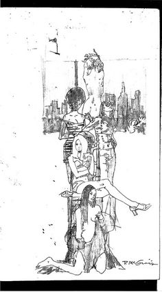 Love these loose lines - Column of ladies - Sketch by Robert McGinnis (from Michael Vosberg).