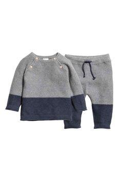 Strikket trøje og bukser - Mørkeblå/Grå - Kids   H&M DK 1