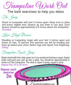 Trampoline Workout for Detox - Exercises for Women & Female Fitness by Flavia Del Monte - Flavia Del Trampolines, Zumba, Fitness Diet, Fitness Motivation, Female Fitness, Fitness Fun, Fitness Weightloss, Workout Fitness, Fitness Models