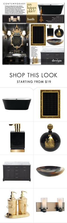 """A contemporary black & gold bathroom: my #happyplace"" by yoa316 ❤ liked on Polyvore featuring interior, interiors, interior design, home, home decor, interior decorating, Versace, Lanvin, Minka-Lavery and bathroom"