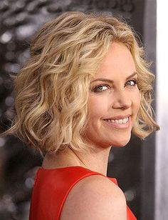 blunt bob with long layers, great for fine wavy hair like charlize theron