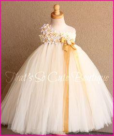 Ivory and Gold Flower Girl Tutu Dress-ivory, gold, flower girl, tutu dress, wedding, vintage, glamorous, flowers, bling