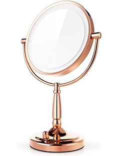 Miusco 7X Lighted Magnifying Double Side Adjustable Makeup Mirror, 8 inch, Rose Gold ❤ Miusco
