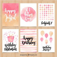 Collection de carte d'anniversaire abstraite d'aquarelle Vecteur gratuit