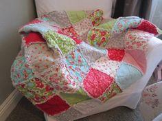 Crib Rag Quilt Baby Boy Or Girl Bedding Nursery Ruby Bonnie And Camille Fabrics